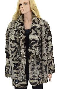 1-950-Noir-Gris-Rex-Rabbit-Fur-Coat-Veste-Taille-XL