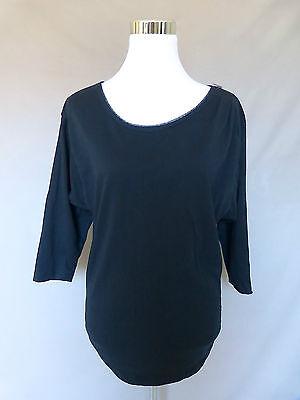 Gap Black Cotton Scoop Neck Mesh Trim Zipper 3/4 Sleeve Knit Top Size M