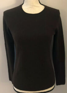 Details about Magaschoni 100% Cashmere Crew Neck Long Sleeve Sweater Brown Small Wore Once!