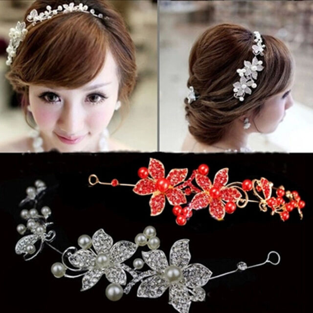 New Lady Rhinestone Bridal Wedding Flower Pearls Headband Hair Clip Comb Jewelry