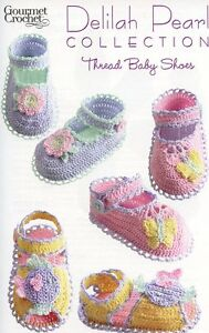 Crochet Baby Booties With Pearls Free Pattern : Thread Baby Shoes Booties Delilah Pearl Gourmet Crochet ...