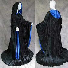 Black Blue Velvet Wizard Robe Cloak LARP Cosplay Game of Thrones GoT Gothic LOTR
