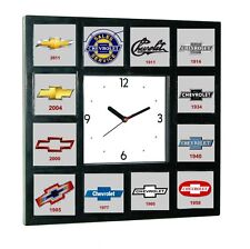 History of Chevrolet Chevy Bowtie Garage Man Cave Office Clock with 12 pictures