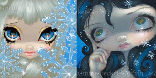 Jasmine Becket-Griffith Art SIGNED Pair of 6x6 FoF Prints Snowflake Fairies Set