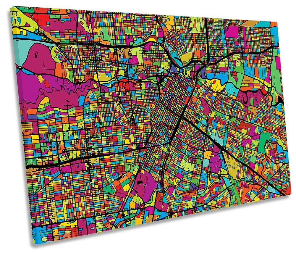 Houston City Modern Map Picture SINGLE CANVAS WALL ART Print Multi-Colourot