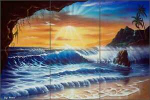 Beach-Tile-Backsplash-Wilkie-Tropical-Sunset-Art-Ceramic-Mural-POV-JWA010