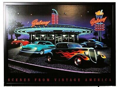 Vintage America Led Light Up Picture Wall Art 1950s Muscle Car And Diner Scene Ebay