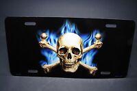 Skull And Crossbones Metal Aluminum Car License Plate Tag