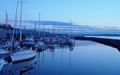 Framed Print - Still Dawn Lit Harbour (Picture Poster Boats Boating Sailing Art)