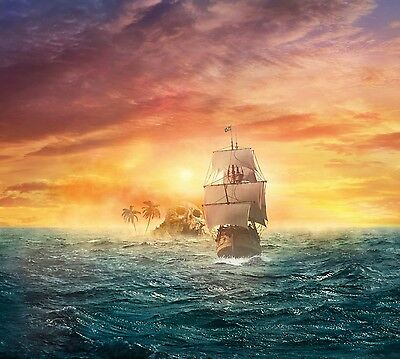 Pirate Ship Sea History Sunset Landscape Large Poster /& Canvas Picture Prints
