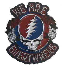 Grateful-Dead-Pin-Steal-Your-Face-034-We-Are-Everywhere-034-1-034-1-2-inch-Lapel-Hat-Pin