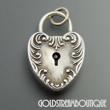 VINTAGE 1953 STERLING SILVER FORGET ME NOT PUFFY FLORAL LOCK CHARM PENDANT