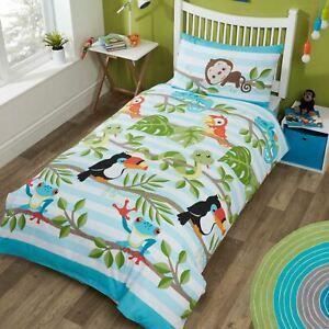 034-Rainforest-034-Set-Housse-de-Couette-Simple-Reversible-Literie-Tropical-Enfants