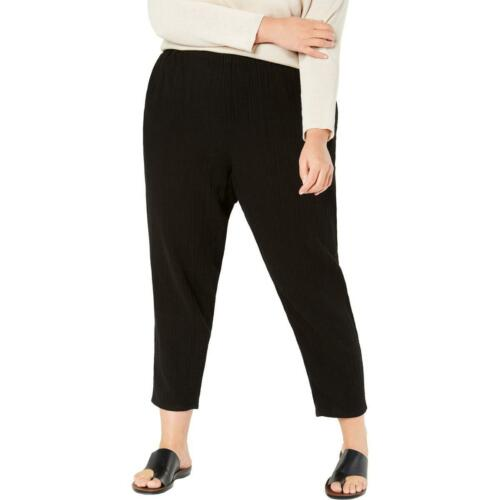 Eileen Fisher Womens Black Organic Cotton Tapered Ankle Pants Plus 1X BHFO 0574