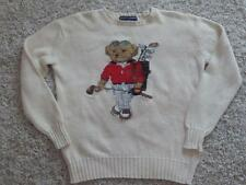 RARE! RALPH LAUREN Vintage GOLFER Golfing TEDDY BEAR Polo SWEATER Size S Small