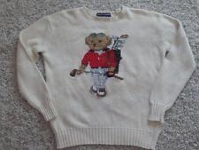 RARE! RALPH LAUREN Vintage GOLFER Golfing TEDDY BEAR Polo SWEATER Size S Small