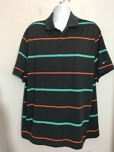 NIKE-GOLF-Men-s-Dri-Fit-Short-Sleeve-Charcoal-Gray-Stripes-Polo-Shirt-Size-2XL