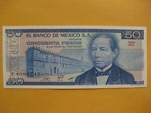 1961 Mexico Banknote 1 Peso CRISP UNC Paper Money Aztec Calendar Independence