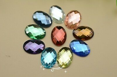 100 PCS 13mm X 18mm Oval Glass Faceted Glass Flat Back Jewels