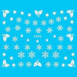 1-Sheet-Christmas-Nail-Art-Water-Stickers-Snowflakes-Snowmen-Transfer-Decals-Hot