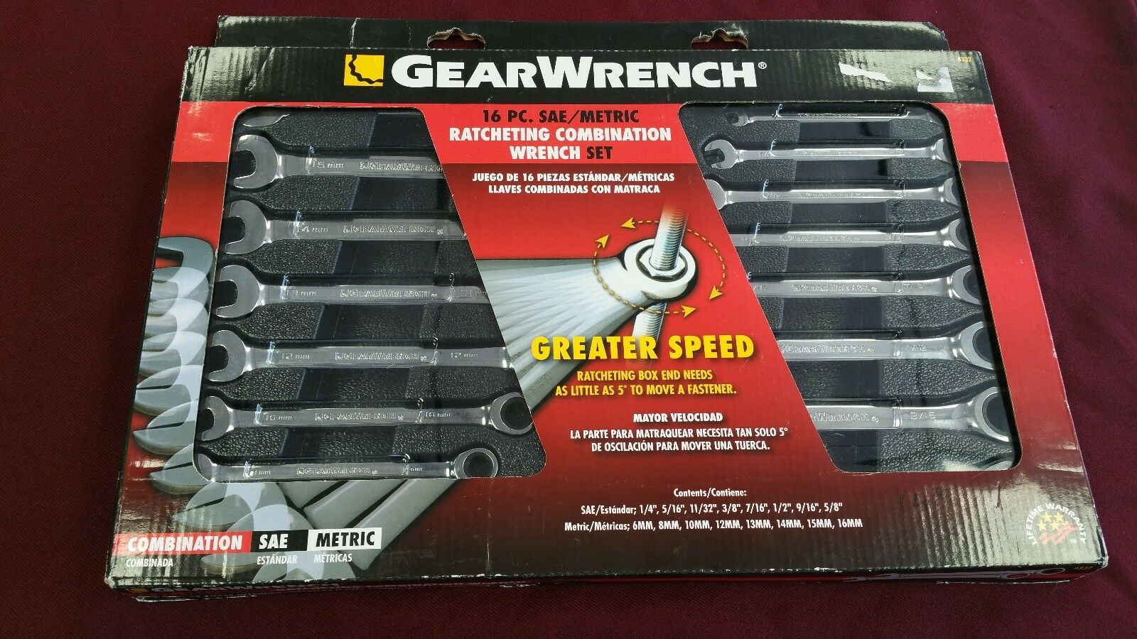 Gearwrench 16pc Ratcheting Combination Wrench Set 4332 Metric SAE NEW