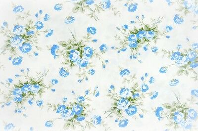 ~ FQ Light Blue Rose Flower Bouquet Classic Style on White 100% Cotton Fabric ~
