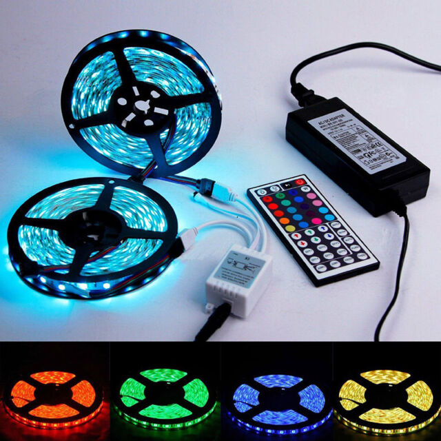 5M RGB 5050 SMD Waterproof LED Strip light 44 Key Remote Power Kit Gift