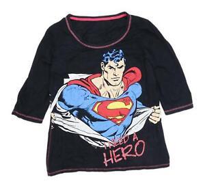 George-Womens-Size-16-Graphic-Cotton-Black-Superman-Top-Regular