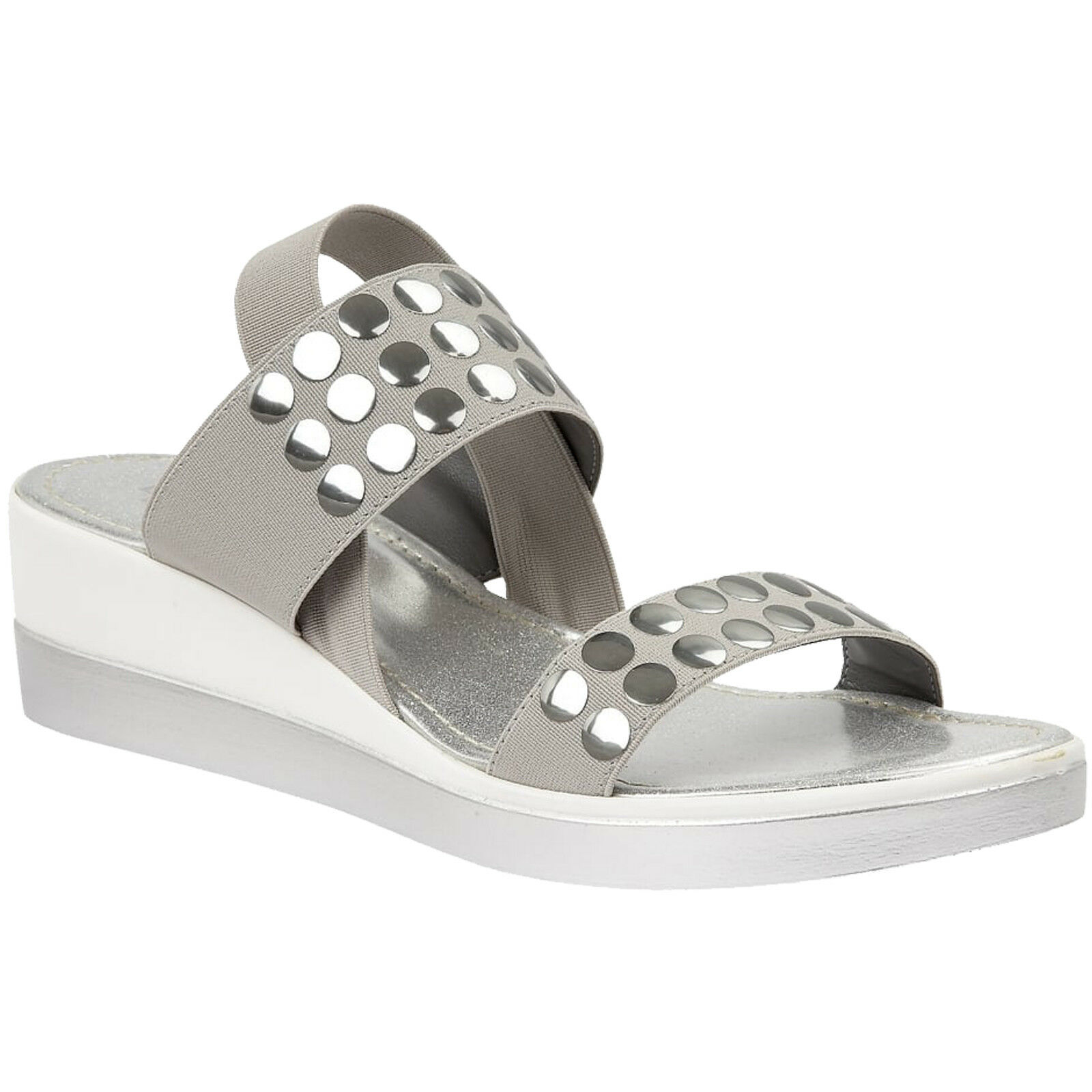 LADIES LOTUS ZELLAND gris PEWTER ELASTIC STRAP WEDGE SANDALS