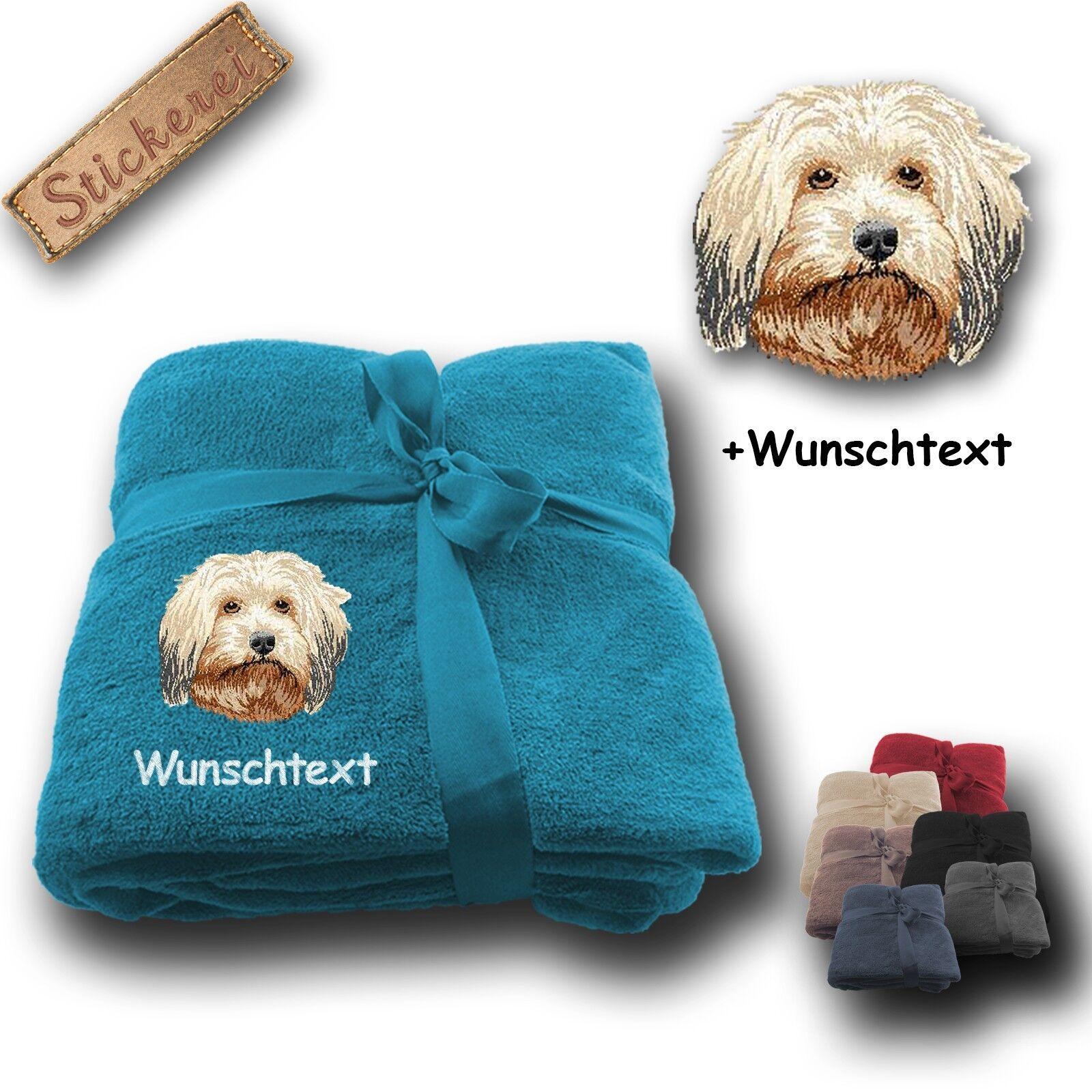 Morbida coperta soffice coperta cane Havanese 01 + desiderio di testo, ricamo, 180x130cm