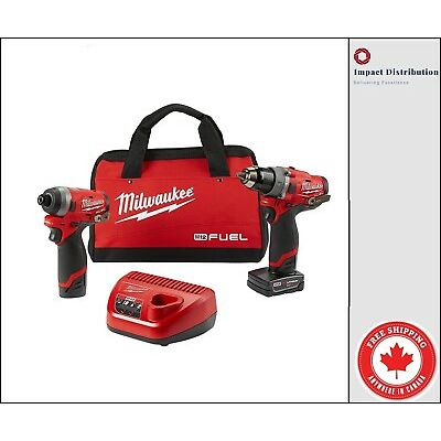 Milwaukee 2598-22 M12 FUEL 12V GEN II Combo Hammer and impact Kit with Battery