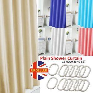 Bathroom Long Plain Shower Curtain Liner Waterproof With 12 Hooks