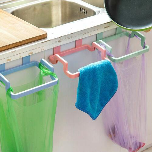 Plastic Door-back Garbage Trash Bags Bracket Rack Hanging Holder Kitchen Shelf