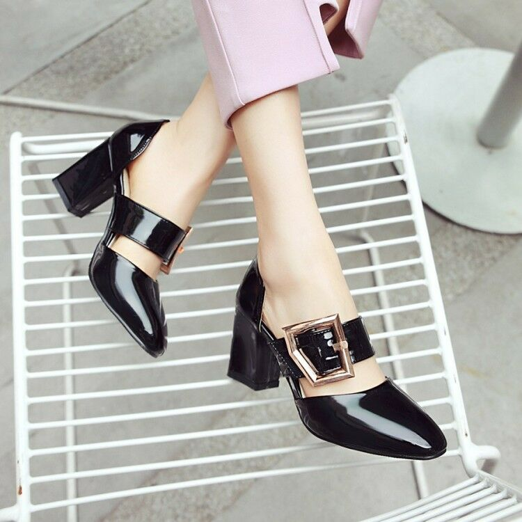 Fashion women's patent leather round toe buckle block Mid heels office OL shoes
