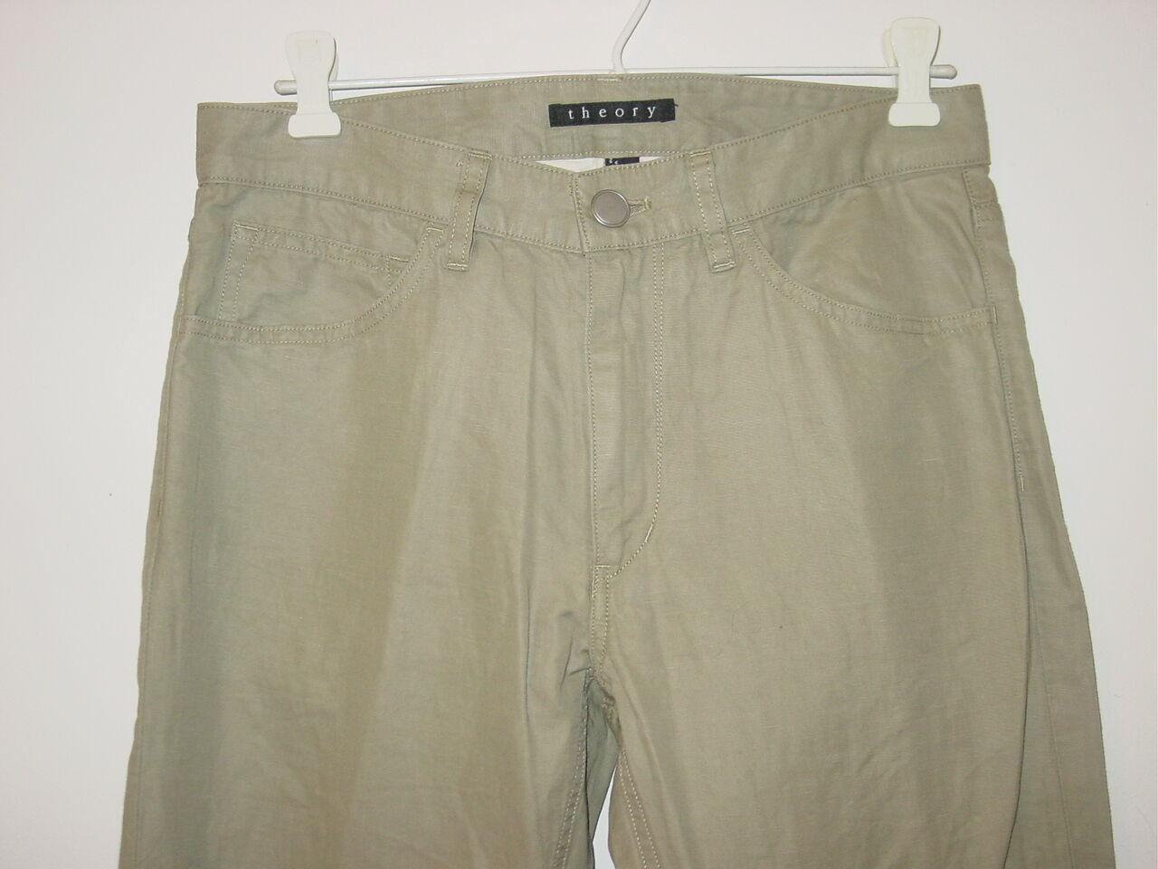 Theory Women's tan khaki light army green pants cotton linen blend-28-NEW