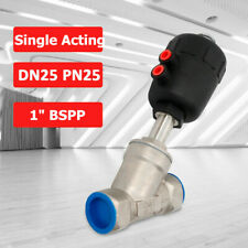 1 Angle Seat Valve Dn25 Pn25 Bspp Stainless Steel Pneumatic Air Actuated Nc