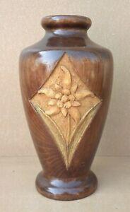 Ancien vase BOIS SCULPTE ART DÉCO ? EDELWEISS pour fleurs séchées old wood vase