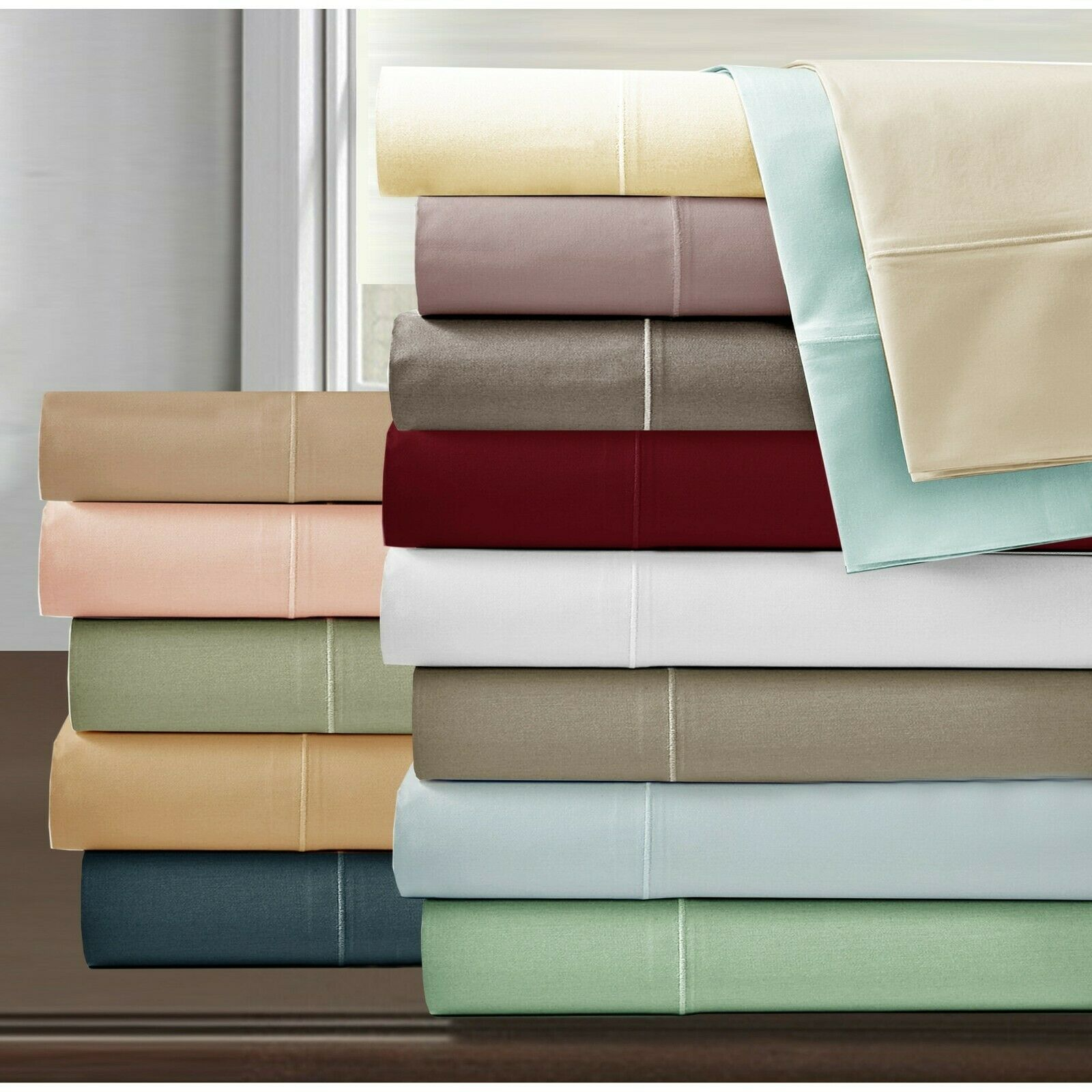 Top Class 6 PCs Sheet Set 1000 TC Egyptian Cotton 5 Solid Farbes All UK Größe