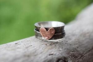 Solid-925-Sterling-Silver-Spinner-Ring-Meditation-statement-Copper-Love-Ring