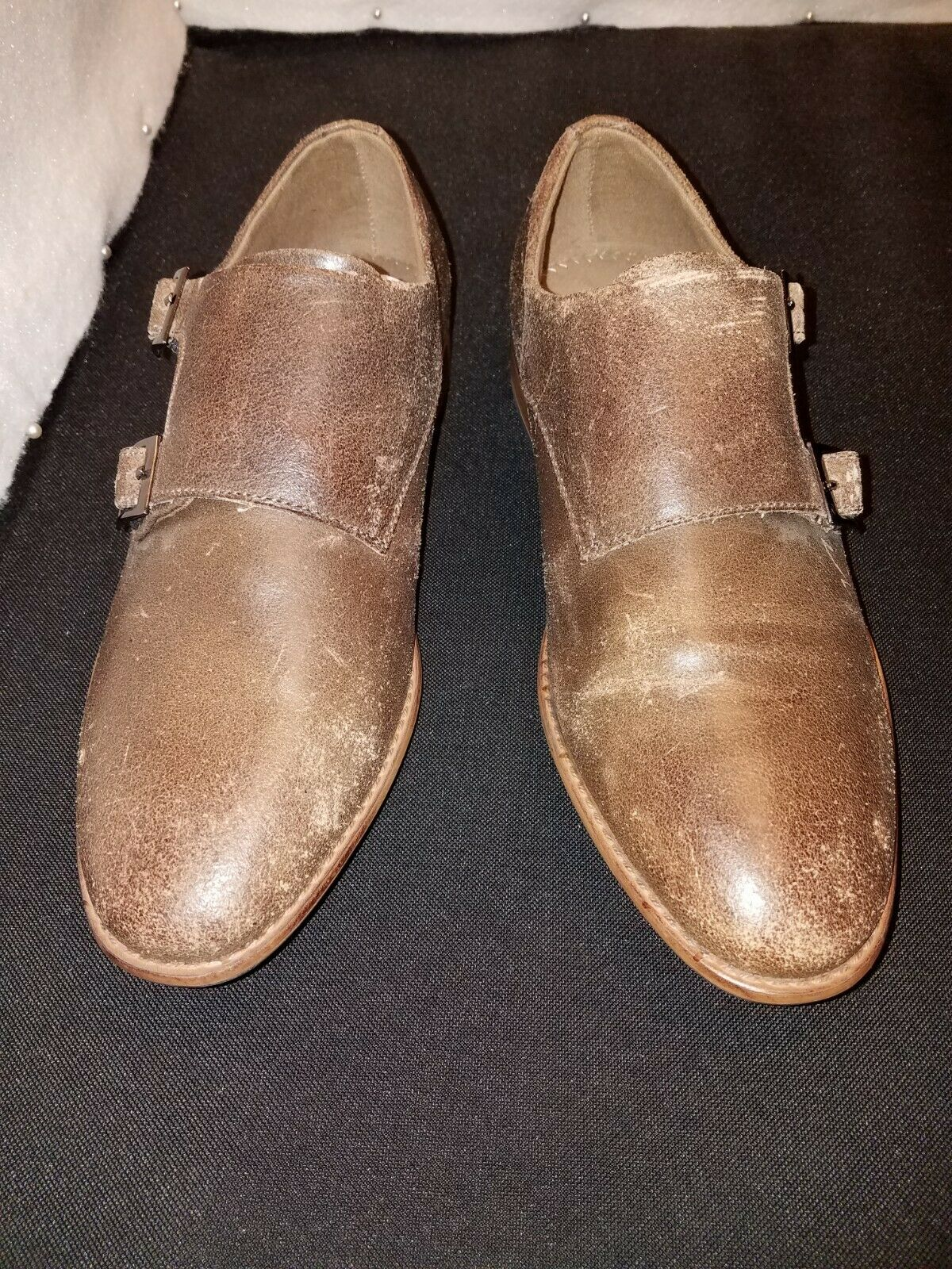 NWOB US9 J75 JUMP MADISON Brown Distressed Lea. Double Buckle MONK Strap SHOES