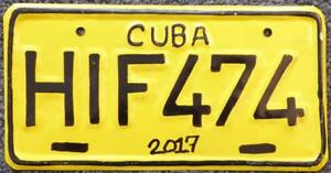 Replica-CUBA-vintage-motorcycle-license-plate-Harley-Davidson-Indian-Triumph-YEL