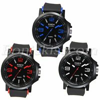 Men's Fashion Rubber Strap Sports Quartz Wrist Watch Watches With Date Display
