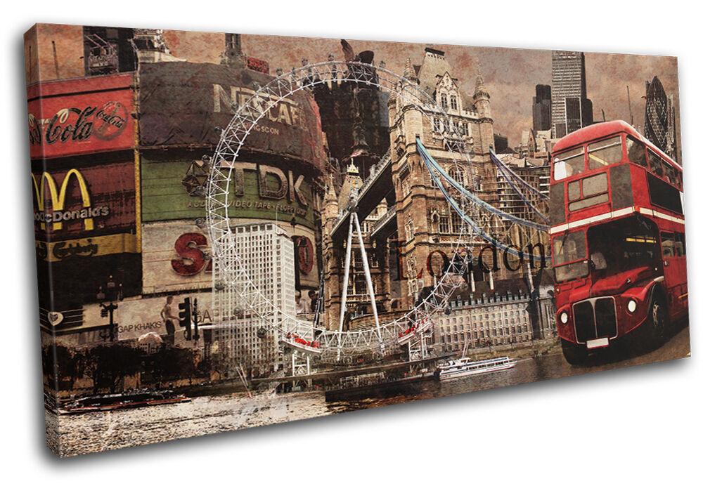 London Vintage Collage  City SINGLE TOILE murale ART Photo Print