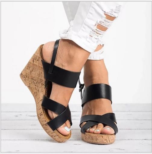 Womens Slingback Wedge High Heels Platform Sandals Peep Toe Summer Beach shoes