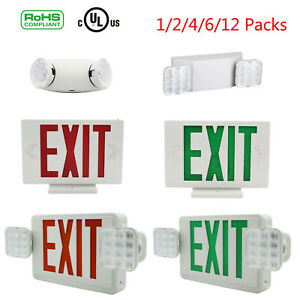 Universal-LED-Exit-Sign-Emergency-Light-RED-GREEN-Dual-Head-Compact-Combo-UL