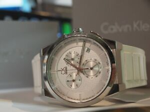CALVIN KLEIN (K2S 371) DART MEN'S CHRONO SILICONE WATCH IN BOX / SWISS MADE !