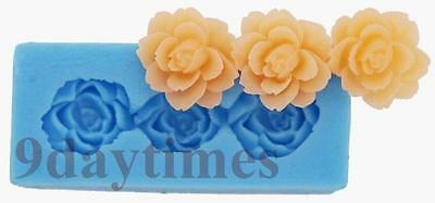 Flower Rose Polymer Clay Silicone Mold Food Grade Crafts  Mould 48mm A372