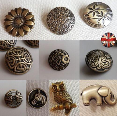 CARDIGAN BRONZE METAL BUTTONS – SHANK UK OWL CELTIC ELEPHANT CUTOUT FLOWER