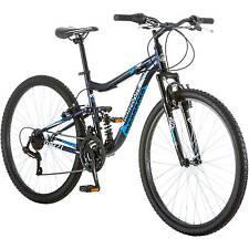 "Mongoose 27.5"" Men Mountain Bike Aluminium Navy Bicycle Dual Suspension Shimano"
