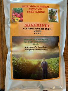 25,000 Seed 50 Variety Heirloom Garden Cache + $29.99 Herb Pack Heirloom Non Gmo